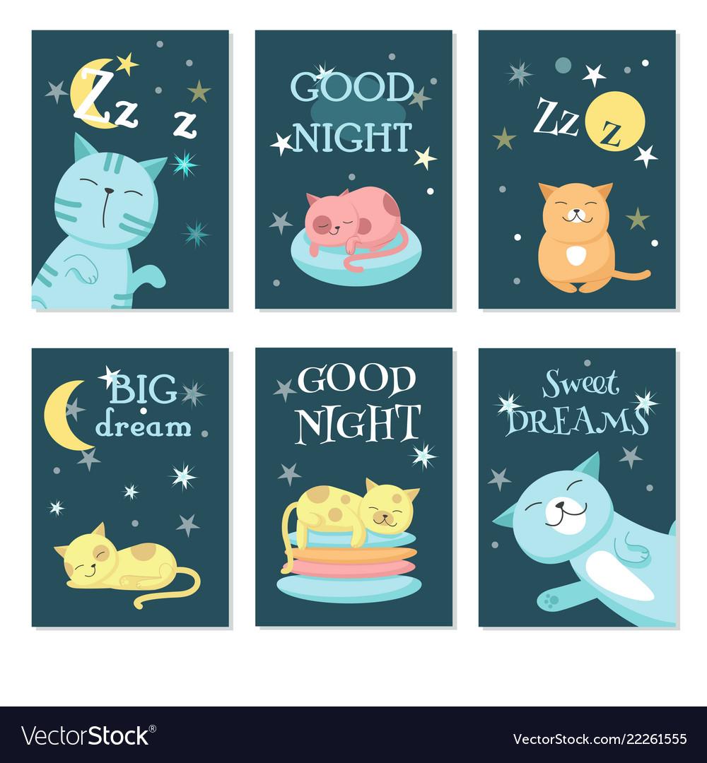 Cute sleeping pet cats card set