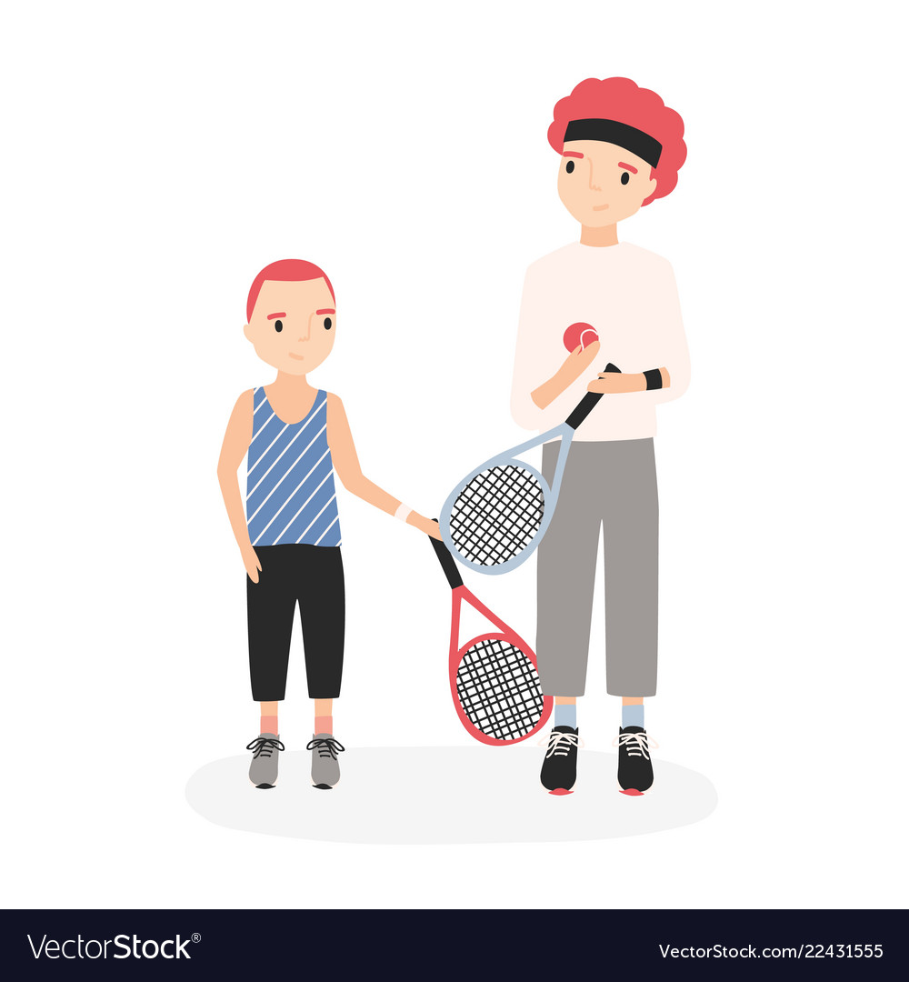 Father and son holding tennis rackets and ball