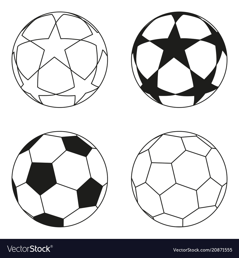 flat black and white soccer ball star set vector image  vectorstock