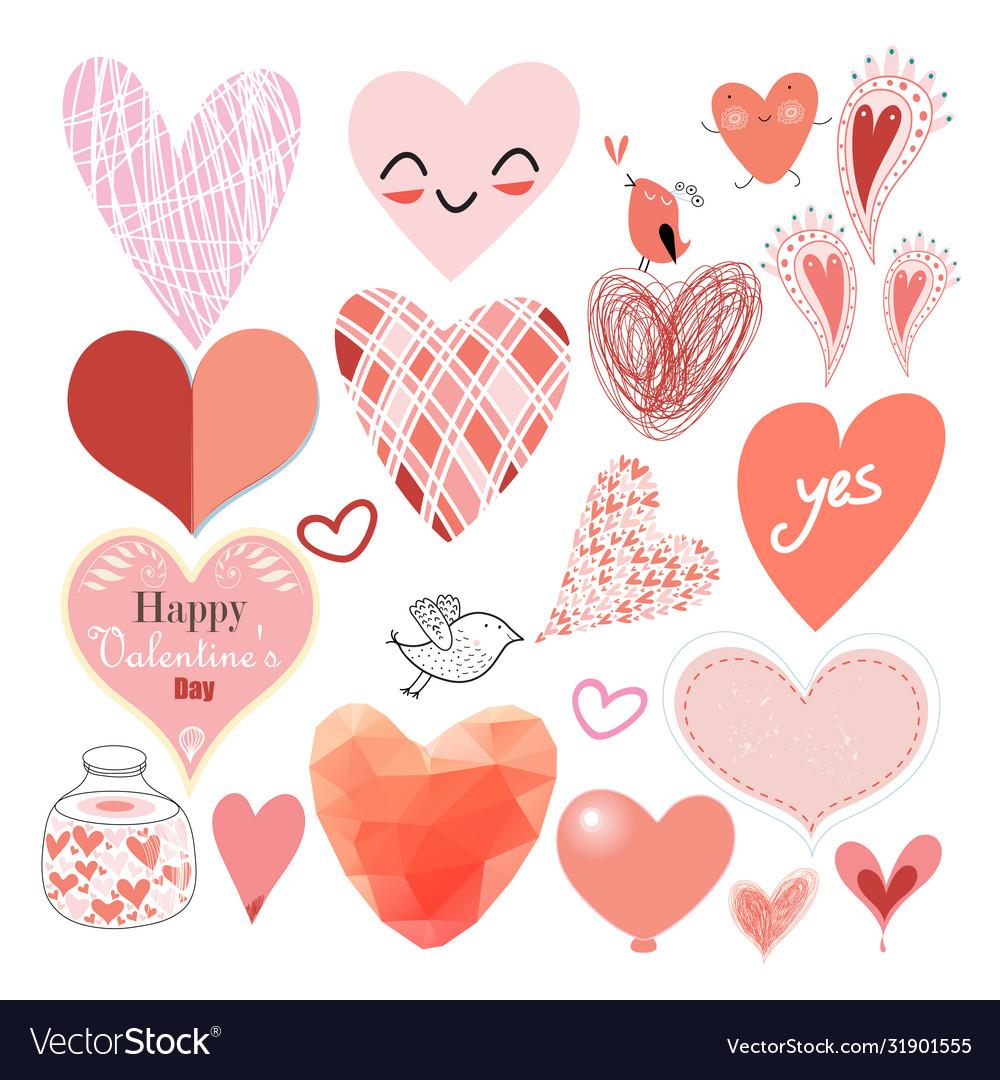 Graphic heart set