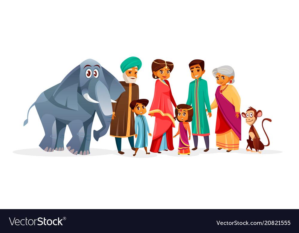 Indian family cartoon
