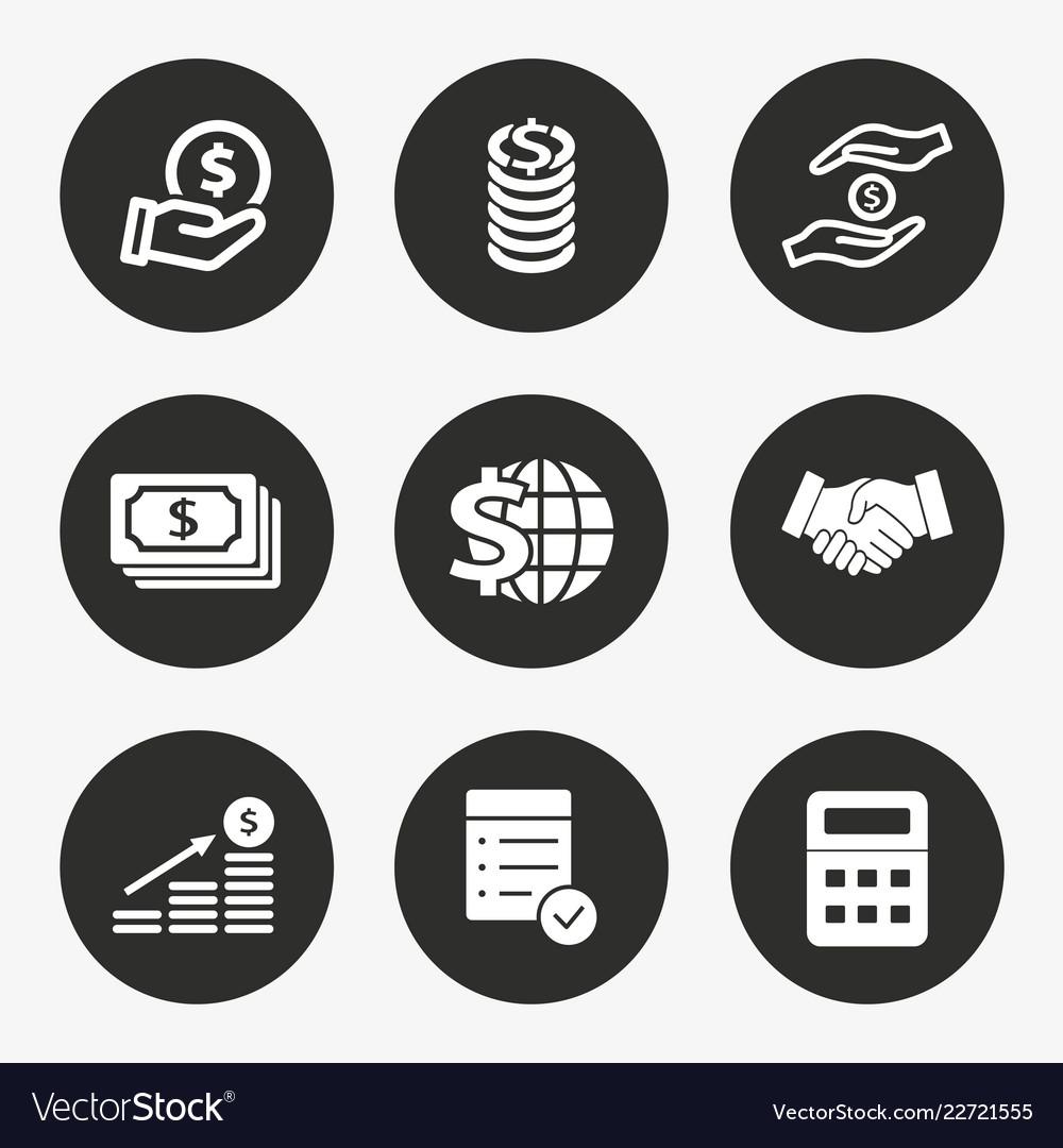 Investments money icon set