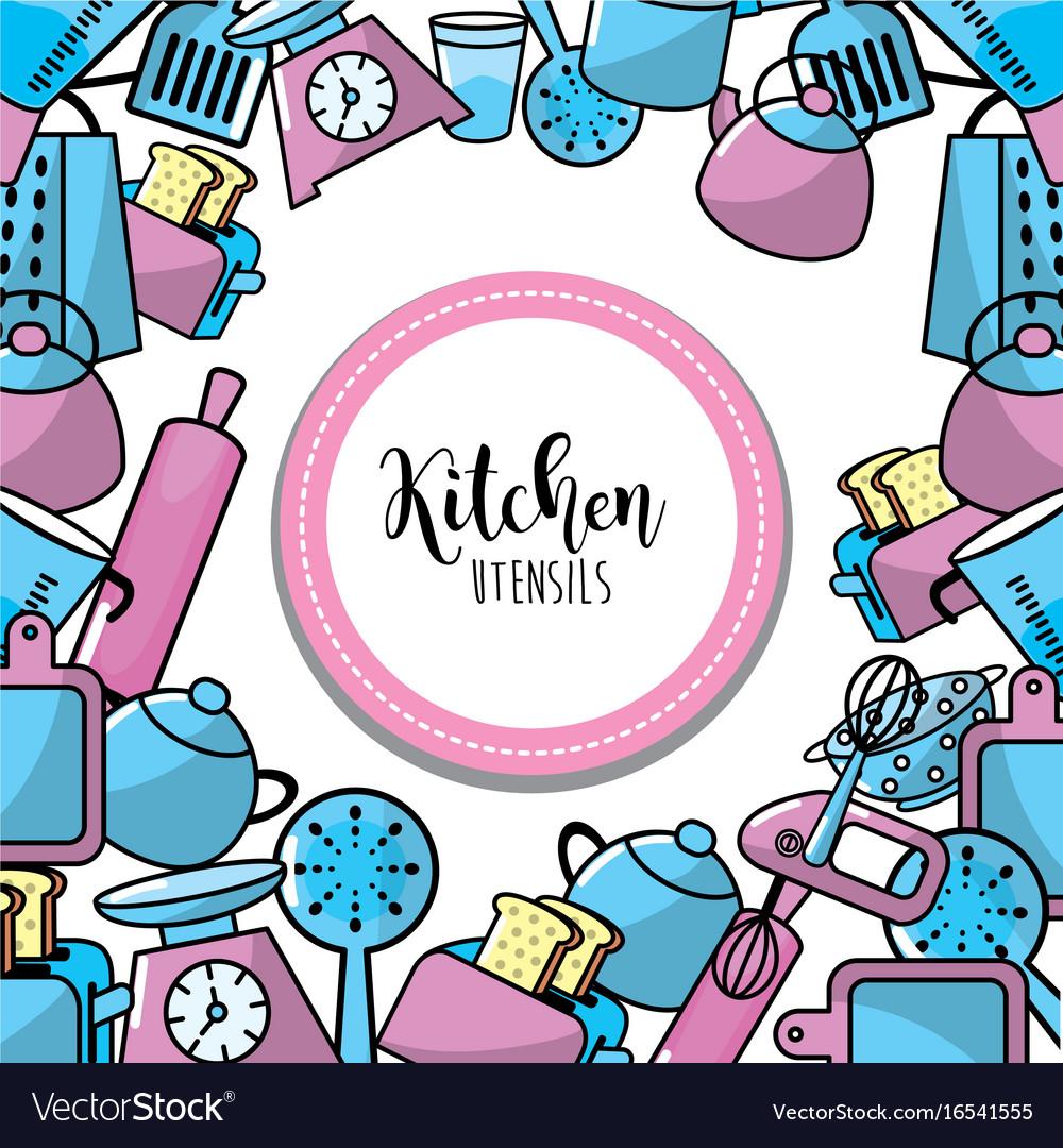 kitchen utensils background kitchen equipment kitchen utensils culinary collection background vector image