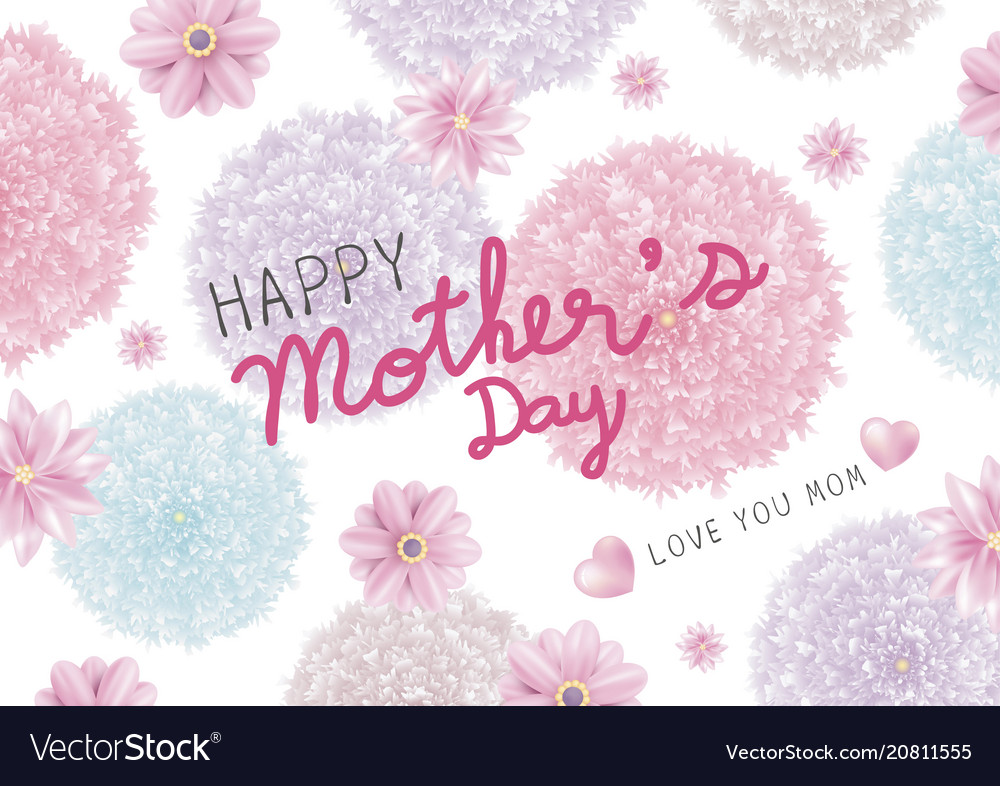 Mothers day card design of colorful flowers