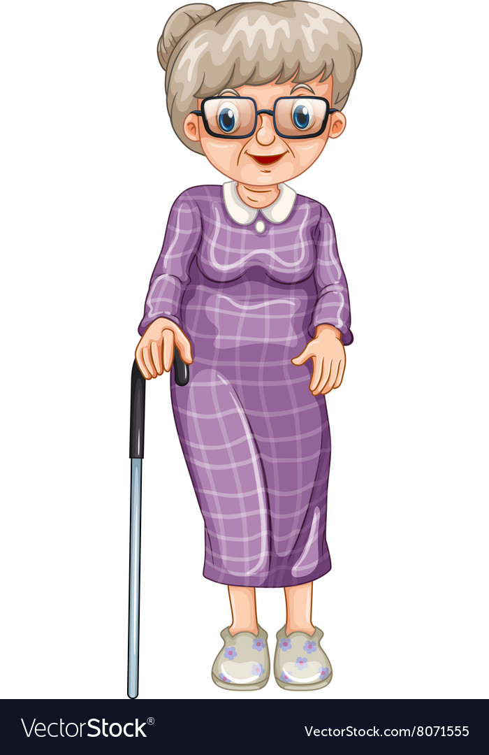 Old lady with walking stick vector image