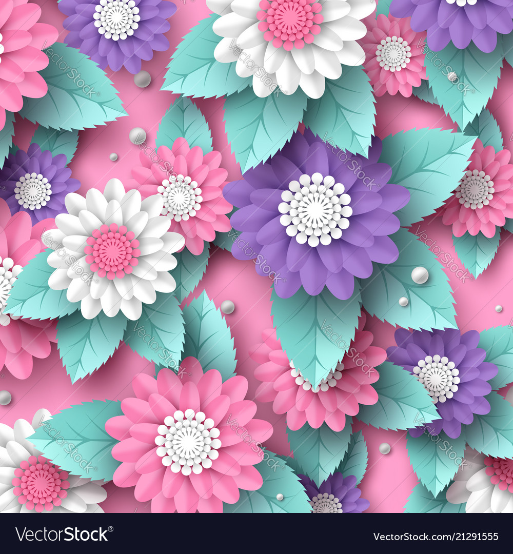 Paper Cut 3d Flowers Banner In Pink White And Vector Image