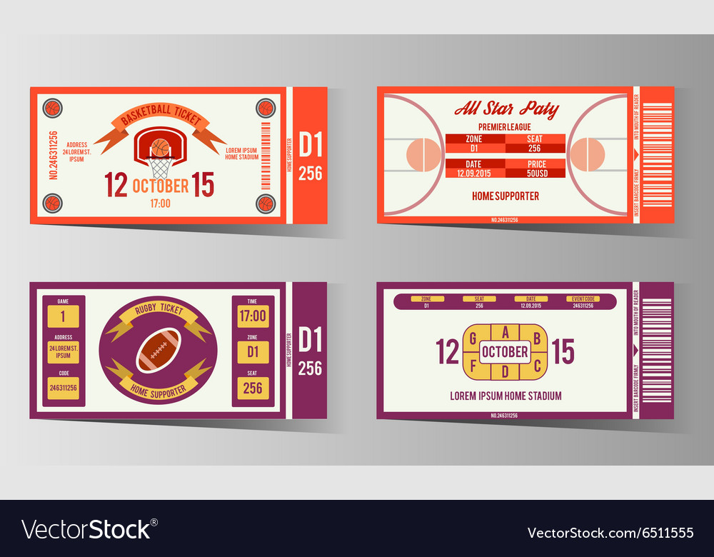 Rugby and Basketball ticket design template Vector Image