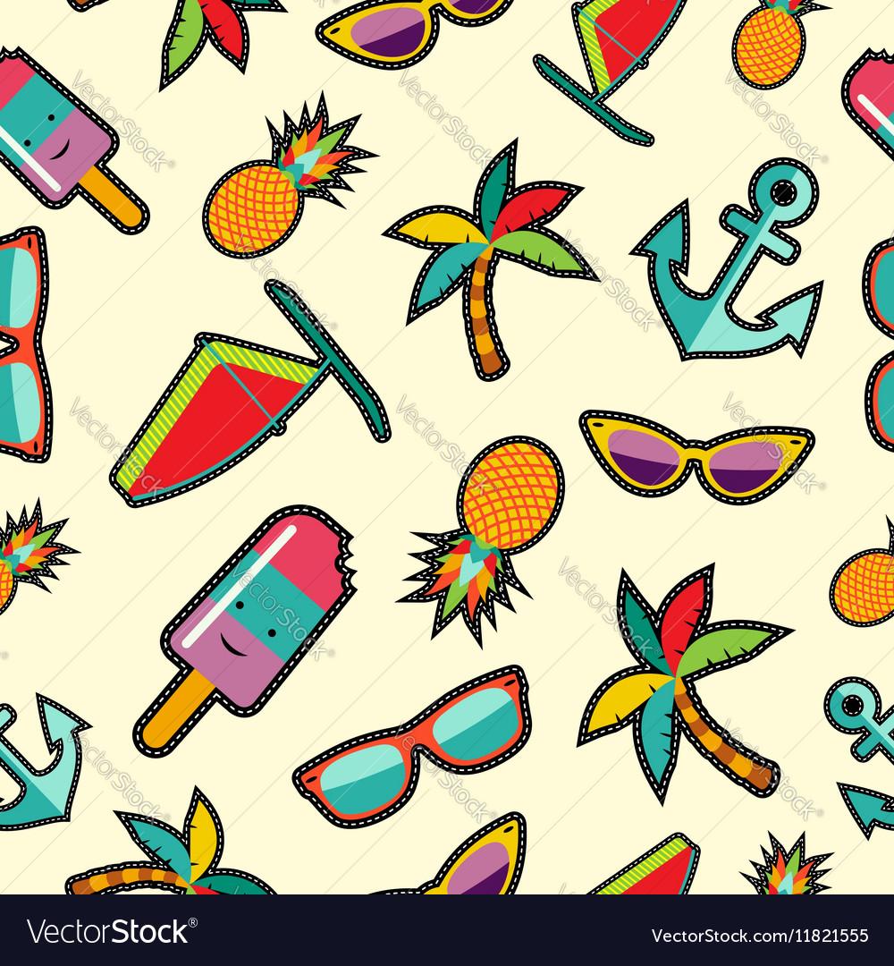 Seamless pattern with cartoon summer designs