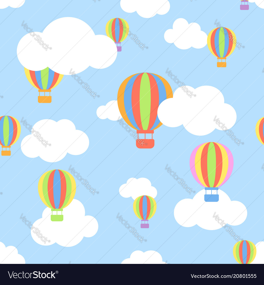Seamless pattern with clouds and different colors