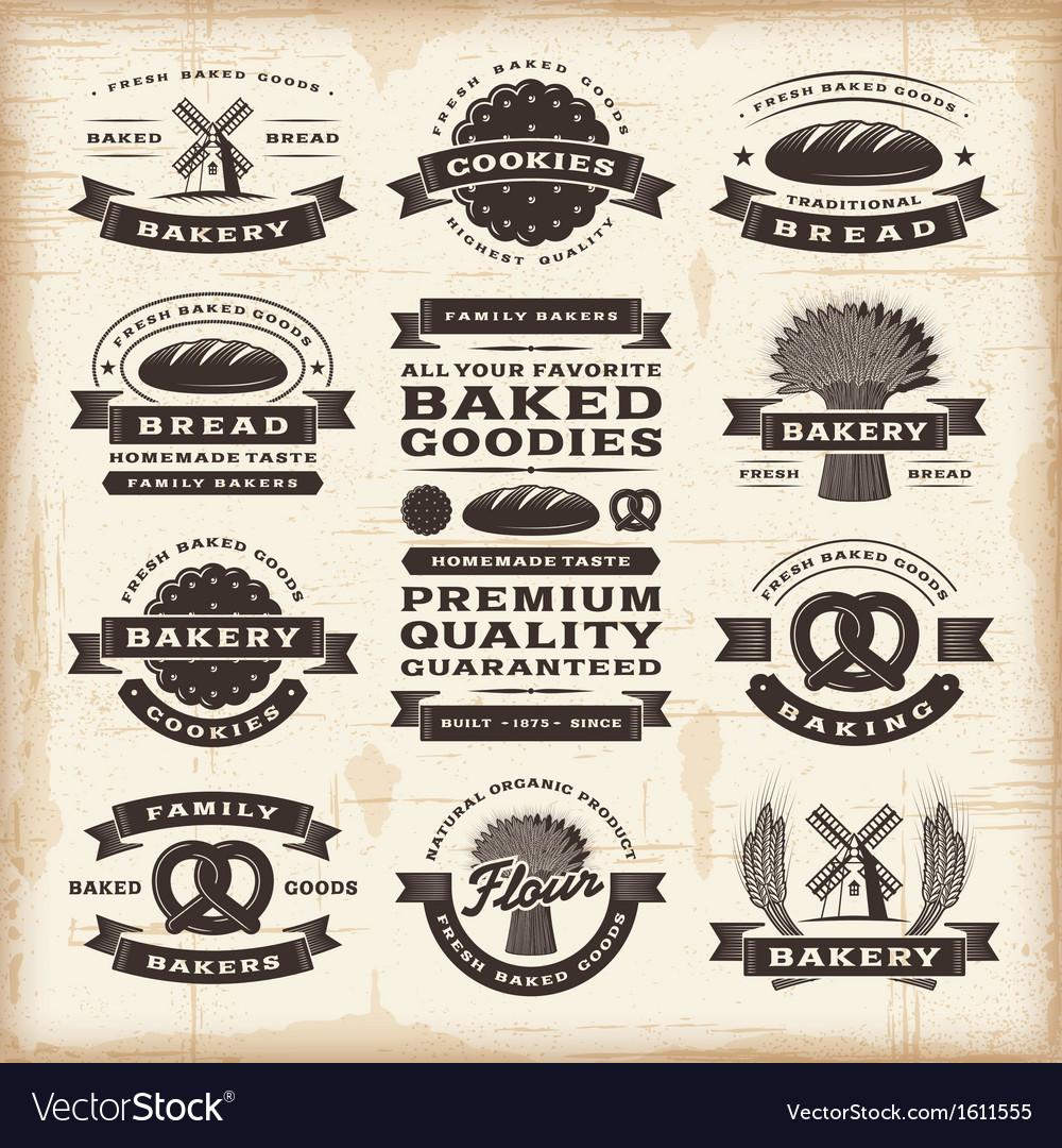 Vintage bakery labels set vector image