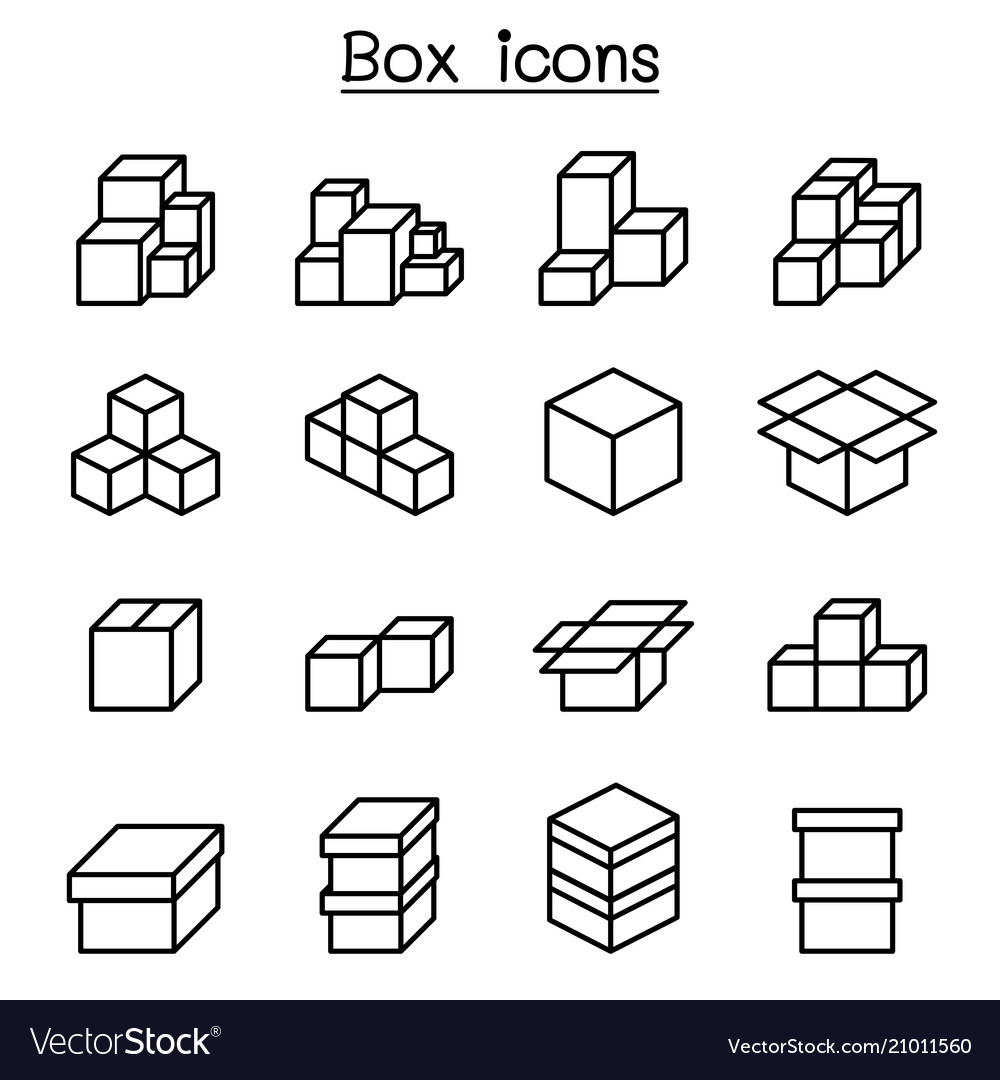 Boxes icon set in thin line style vector image