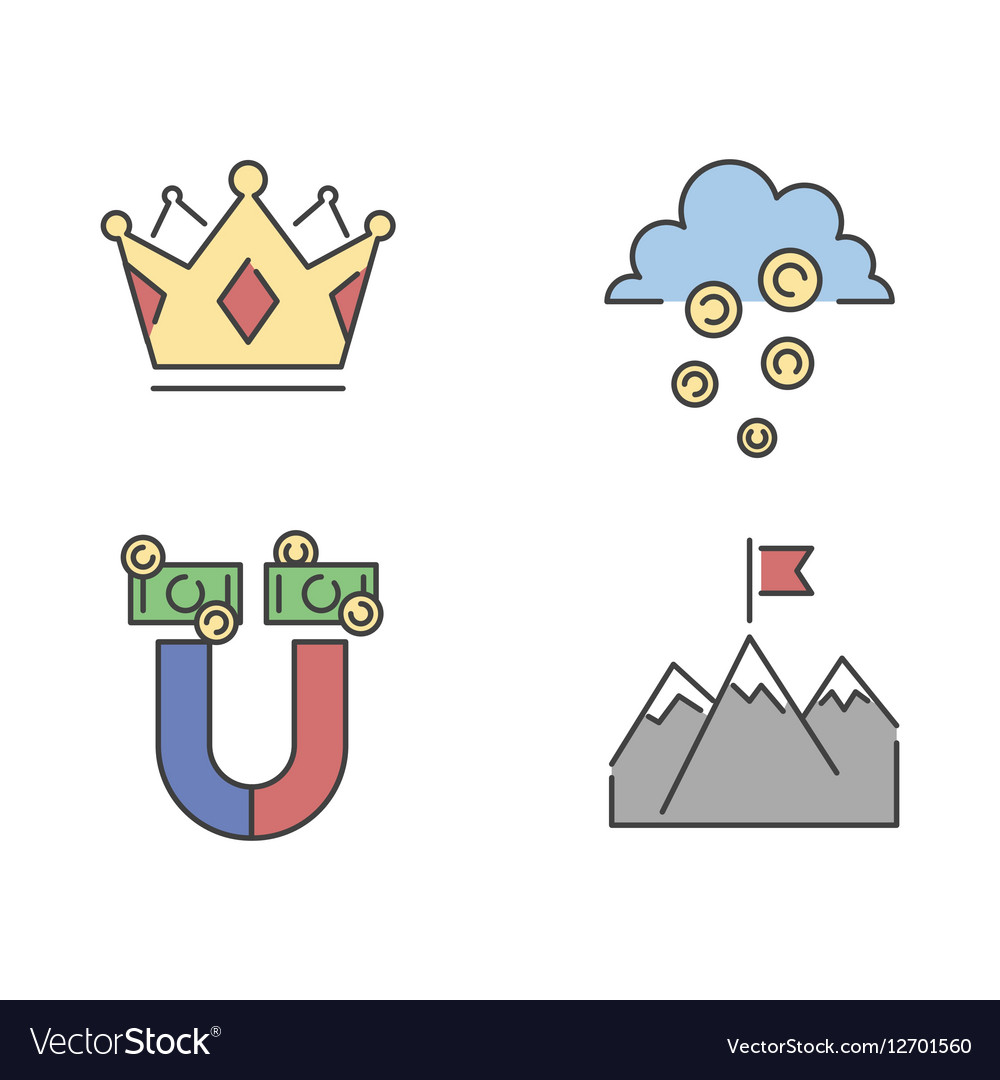Business success icons set