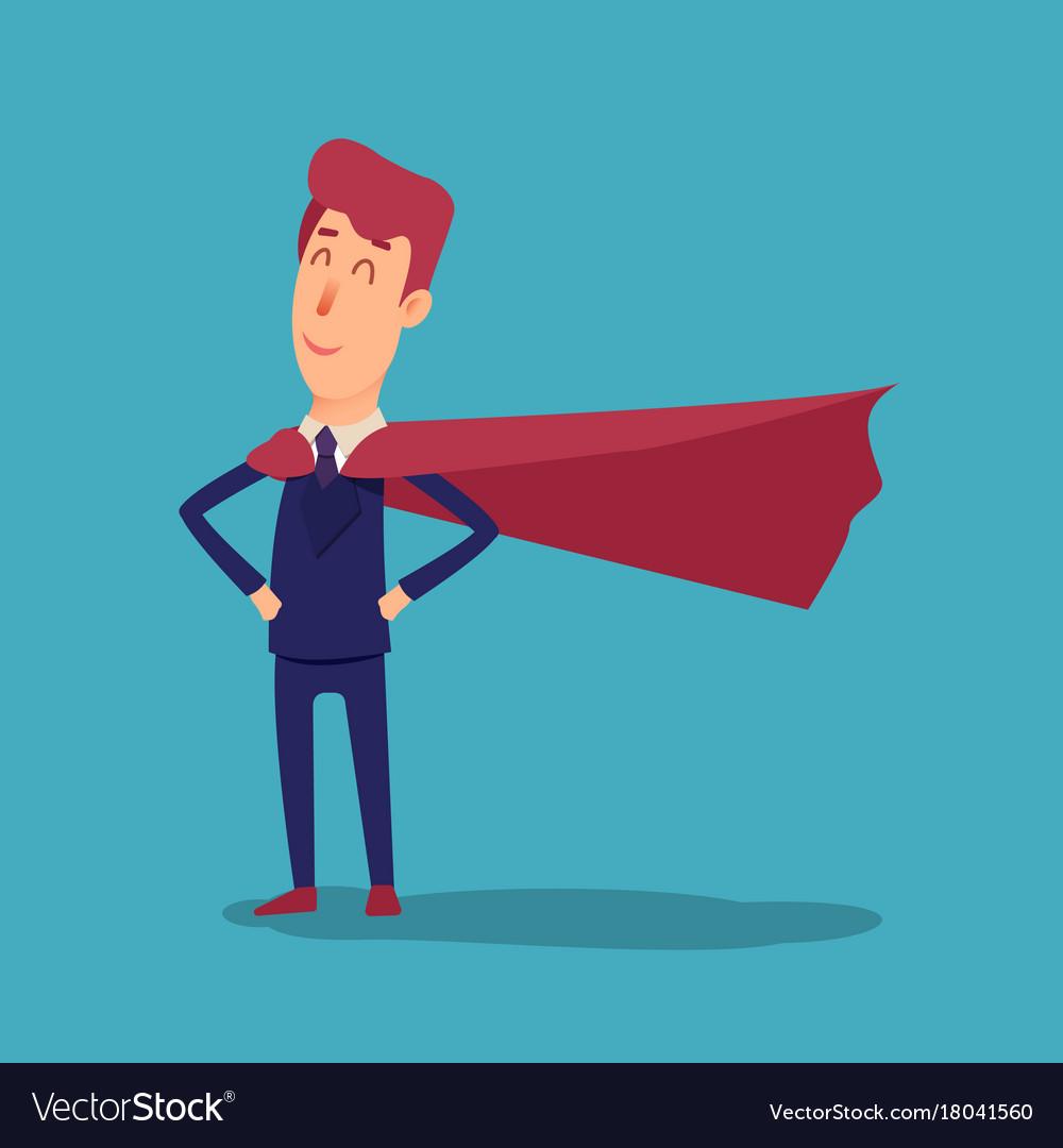 Cartoon successful businesman superhero in suit