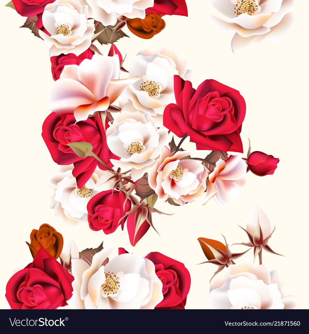 Floral seamless pattern with white and red roses