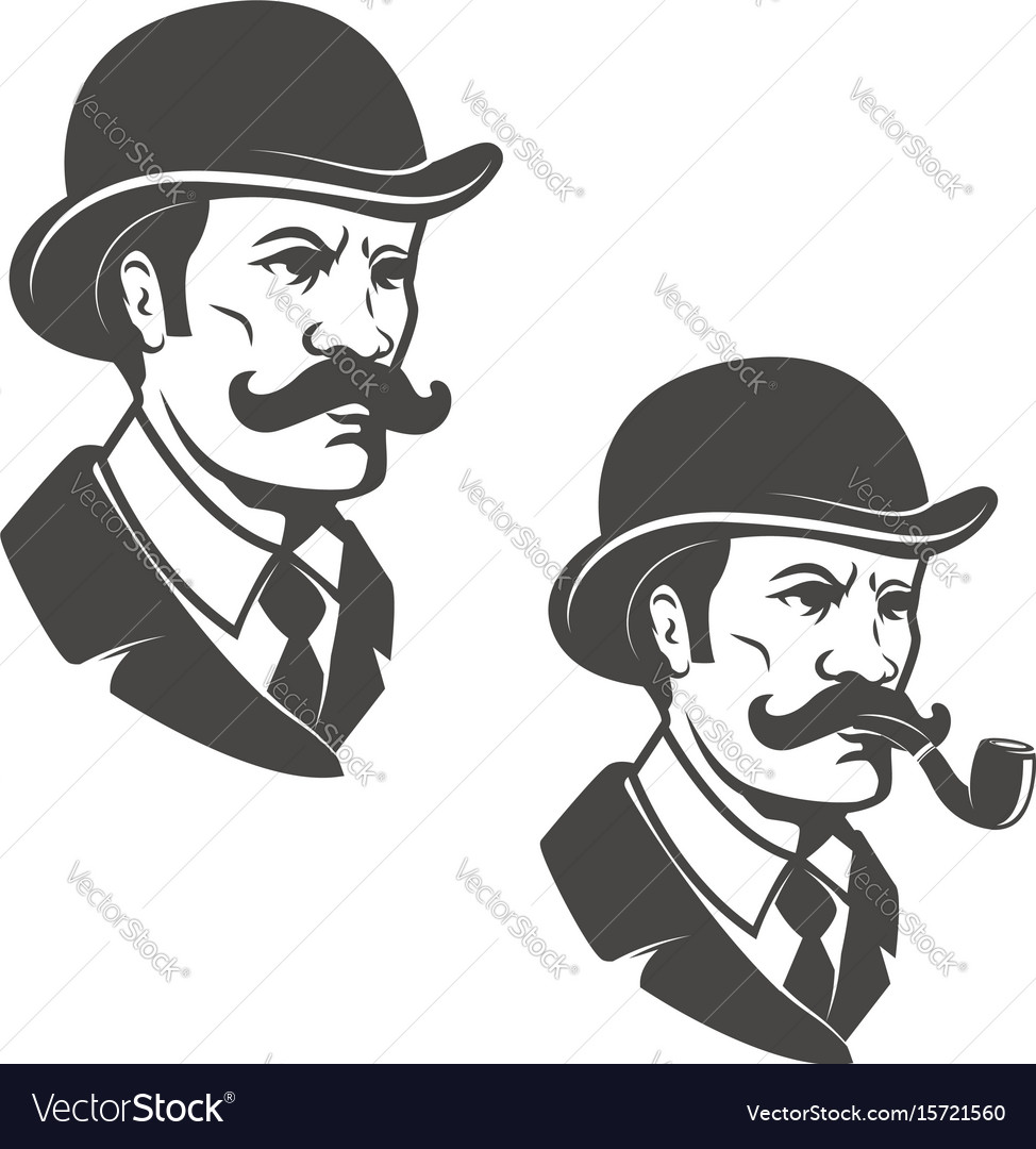 Gentleman head with vintage hat with smoking pipe vector image