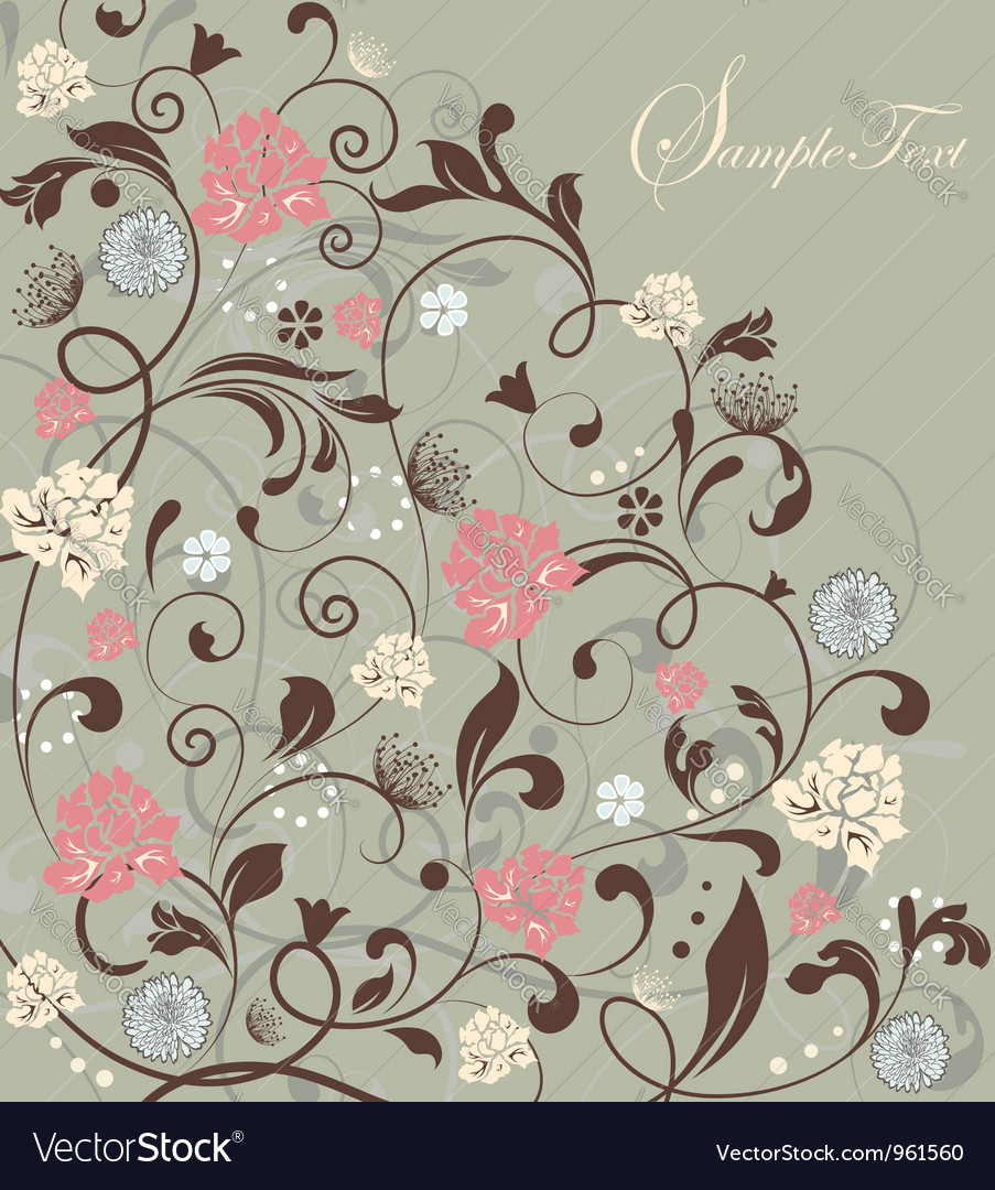 Gray floral card
