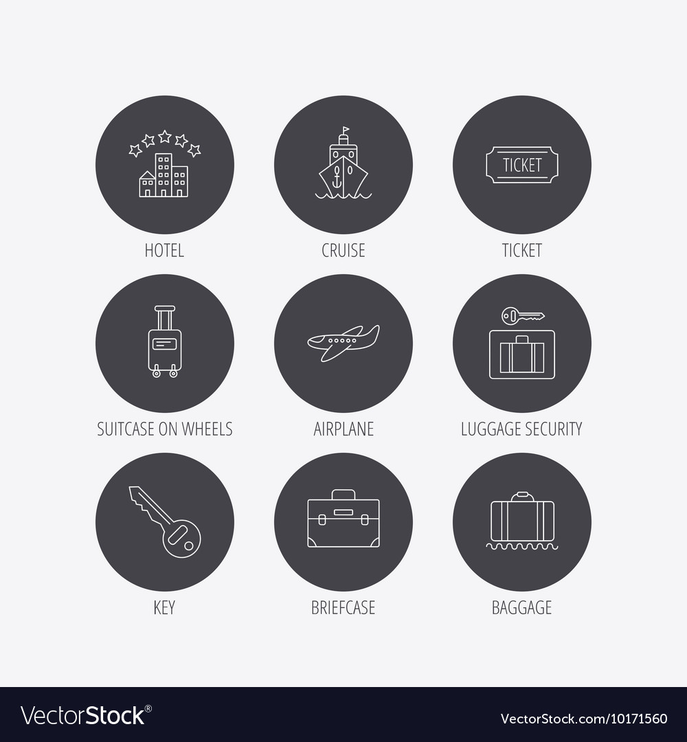 Hotel cruise ship and airplane icons vector image
