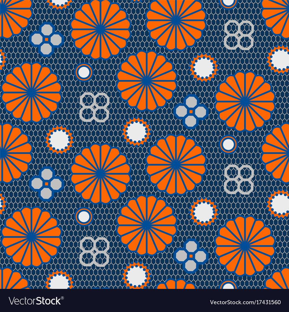 Japanese pattern in blue and orange colors