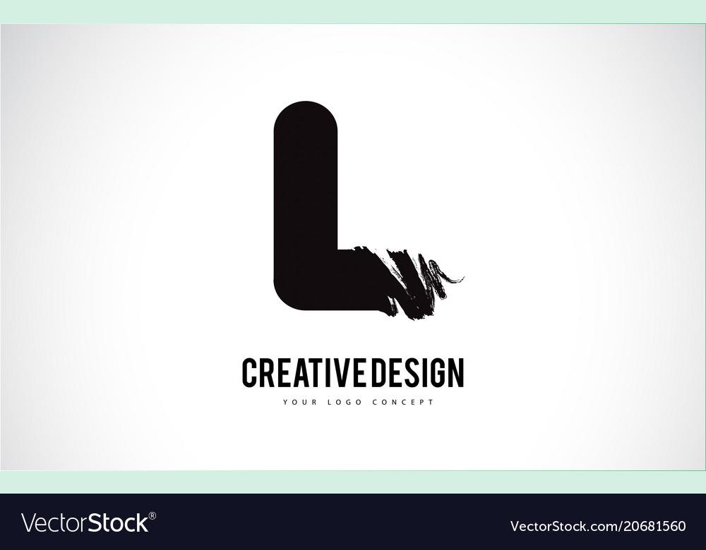 L Letter Logo Design Brush Paint Stroke Artistic Vector Image