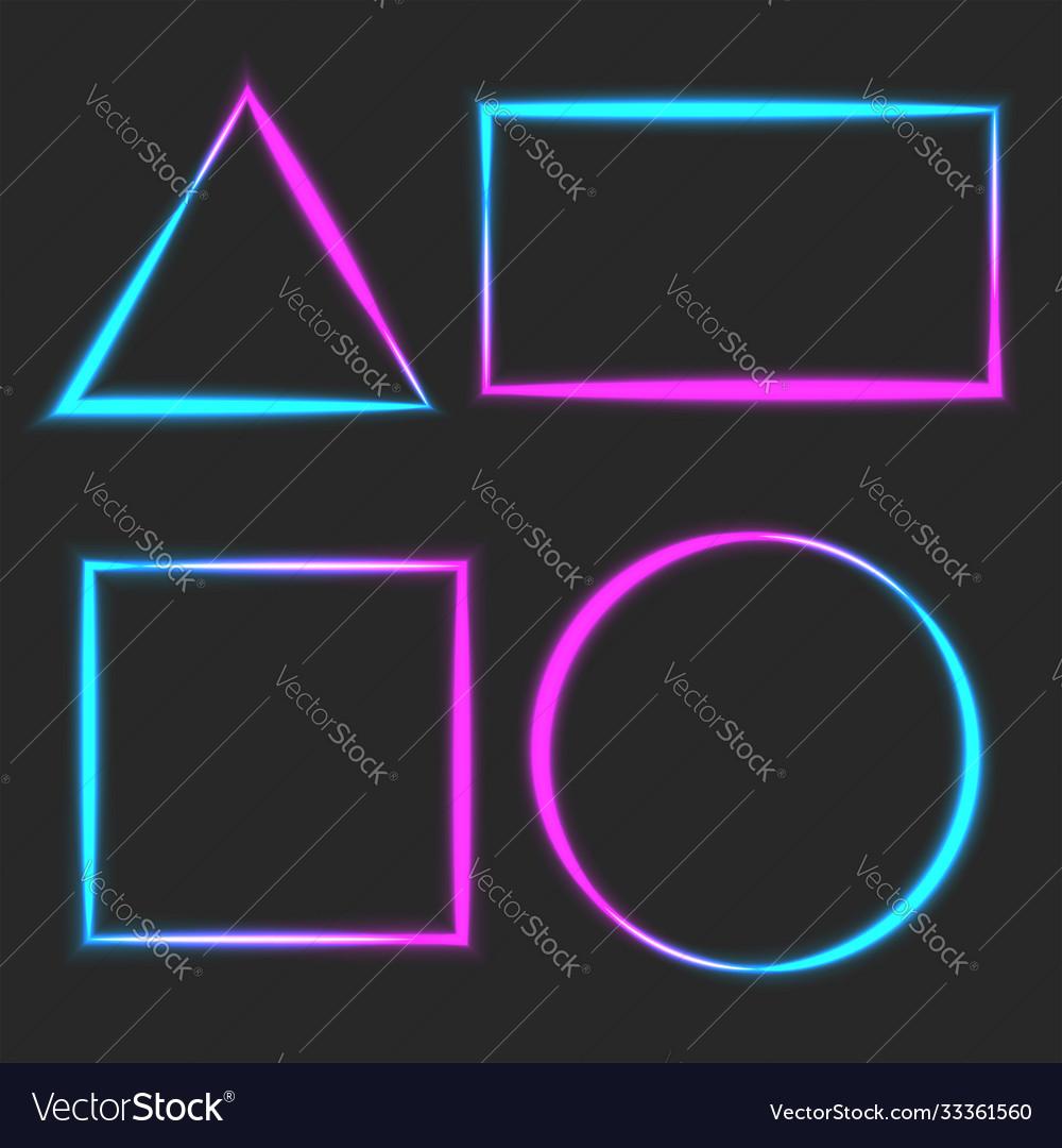 Neon light linear blank frame blue pink line glow