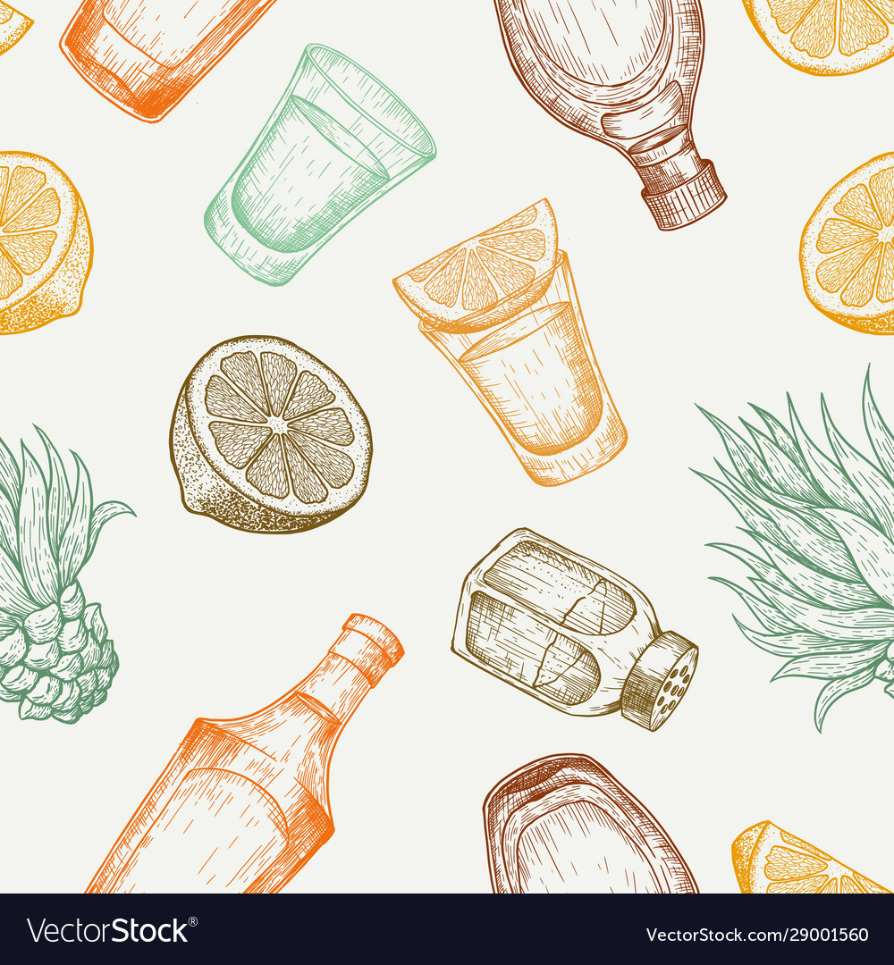 Seamless pattern tequila glass and bottle salt
