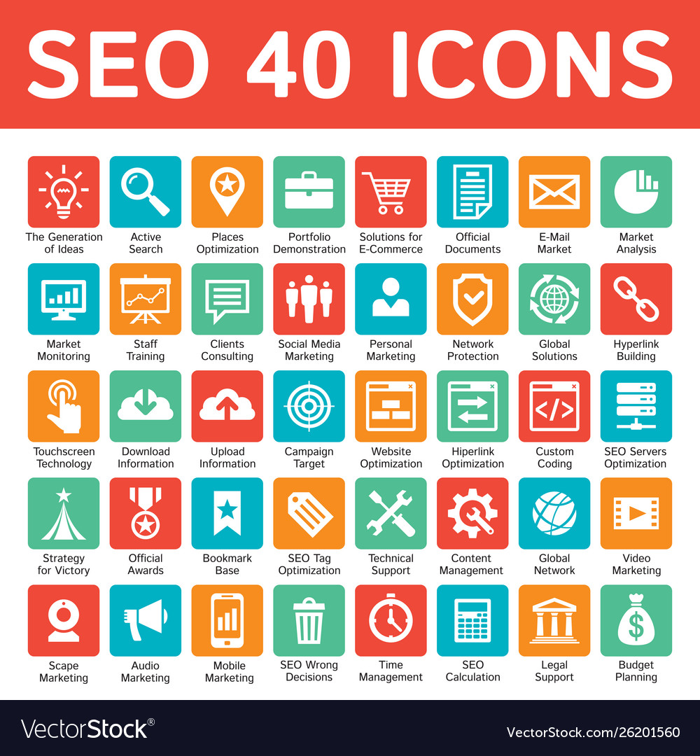 Seo 40 icons design set search engine