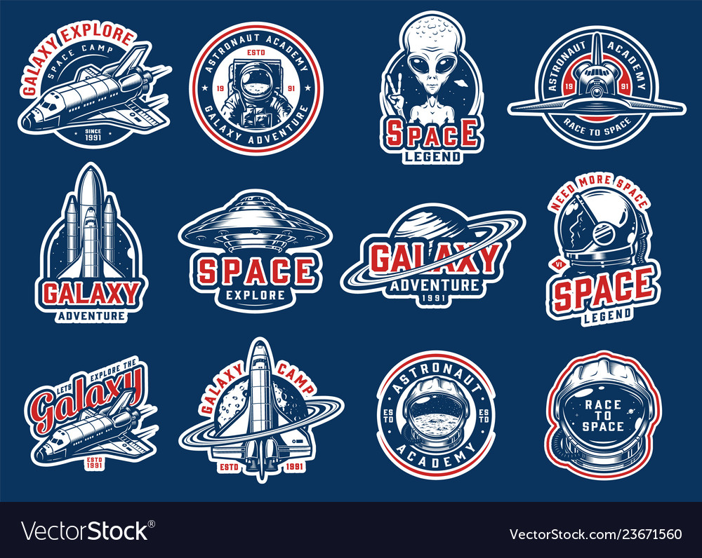 Vintage colorful space badges set