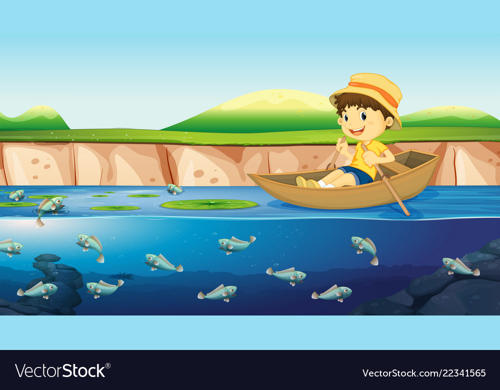 a boy on a boat in river royalty free vector image vectorstock
