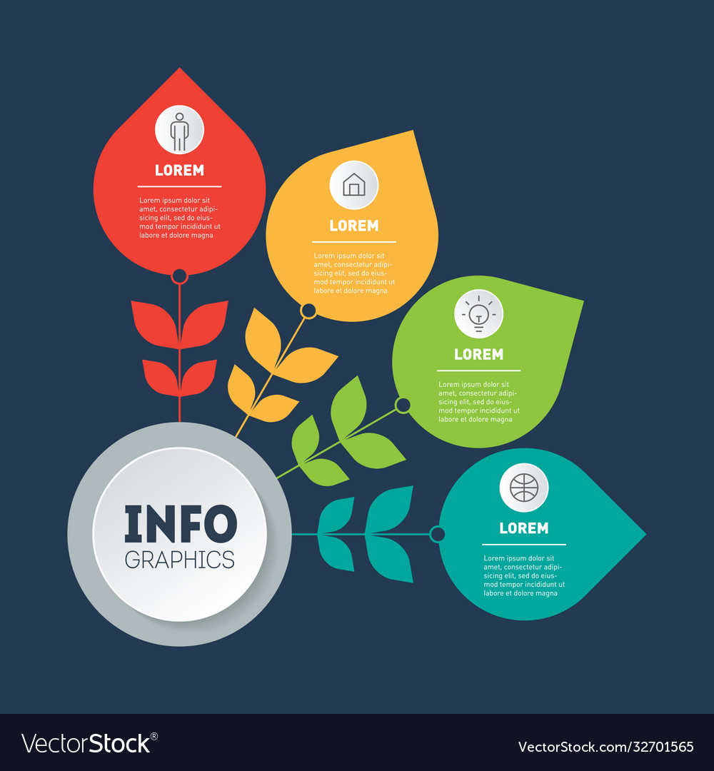 Business presentation concept with 4 options or