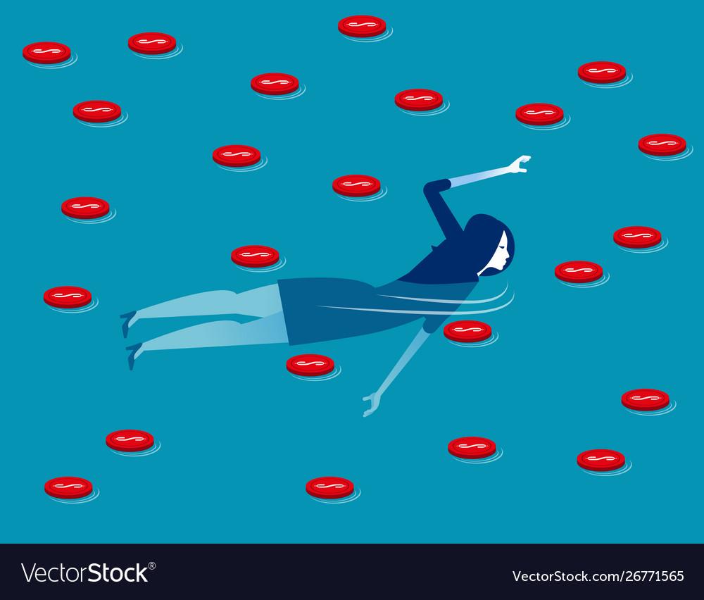 Businesswoman swimming in sea coin concept