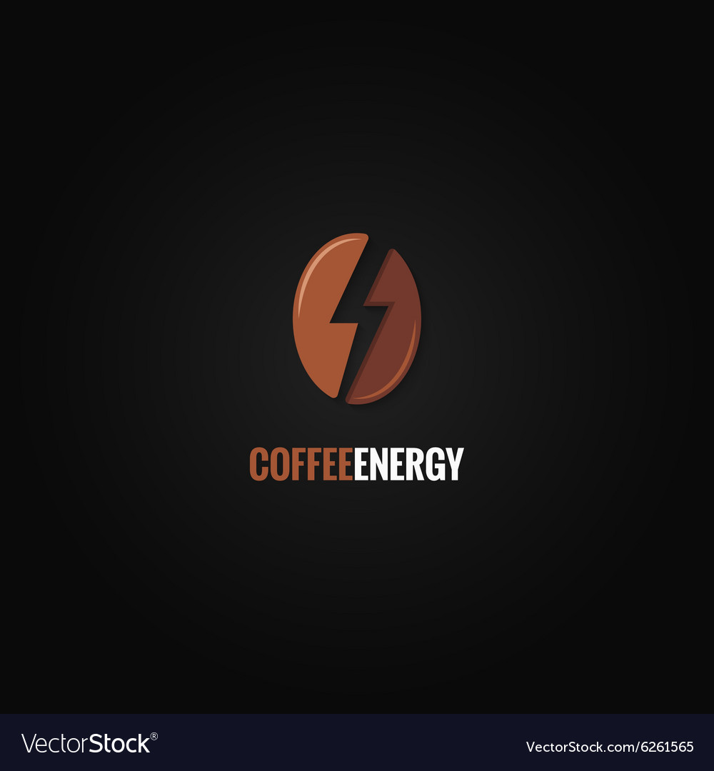 Coffee bean logo flash energy concept background