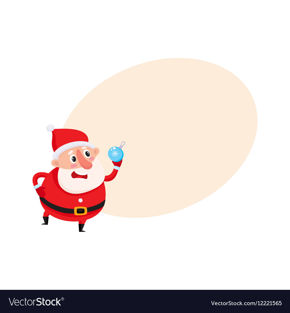 Cute and funny Santa Claus with Christmas tree