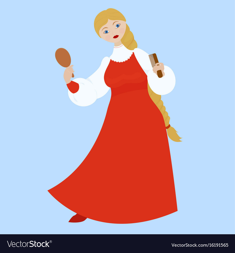 Cute russian girl in red traditional folk dress vector image