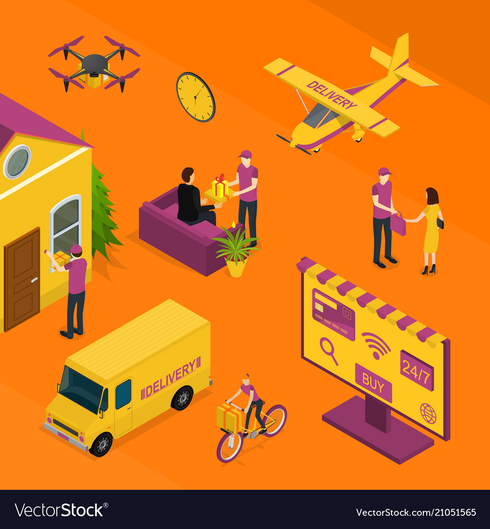 Delivery logistic service concept 3d isometric
