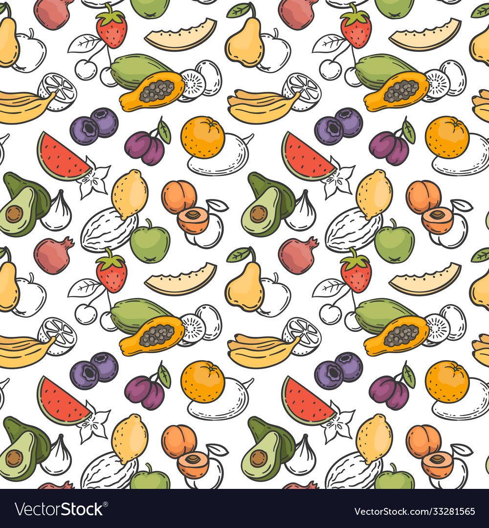 Doodle fruits seamless pattern hand drawn exotic