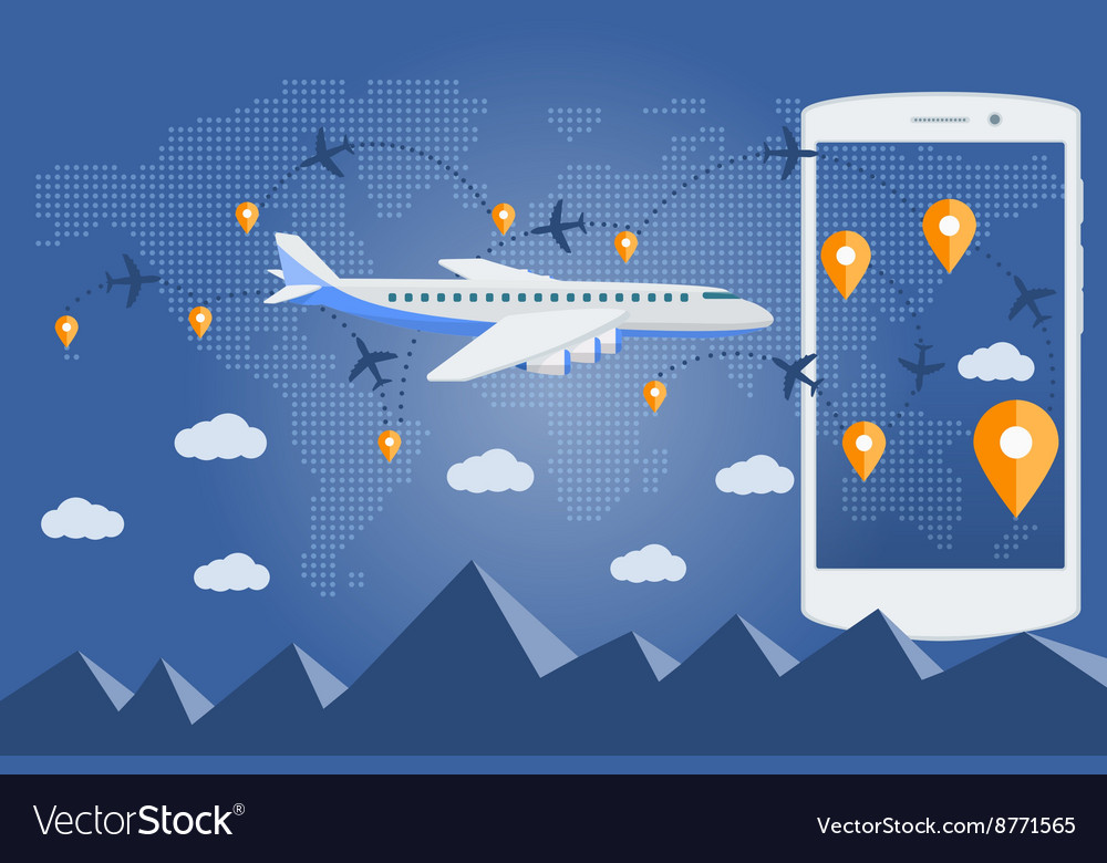 Flat web banner on the theme of travel by airplane