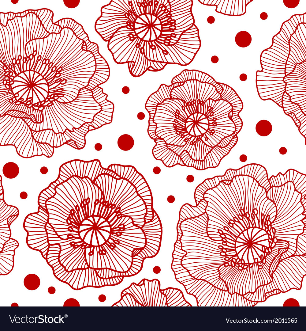 Seamless pattern with red lace poppies