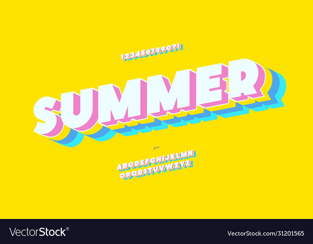 Summer font 3d bold color style