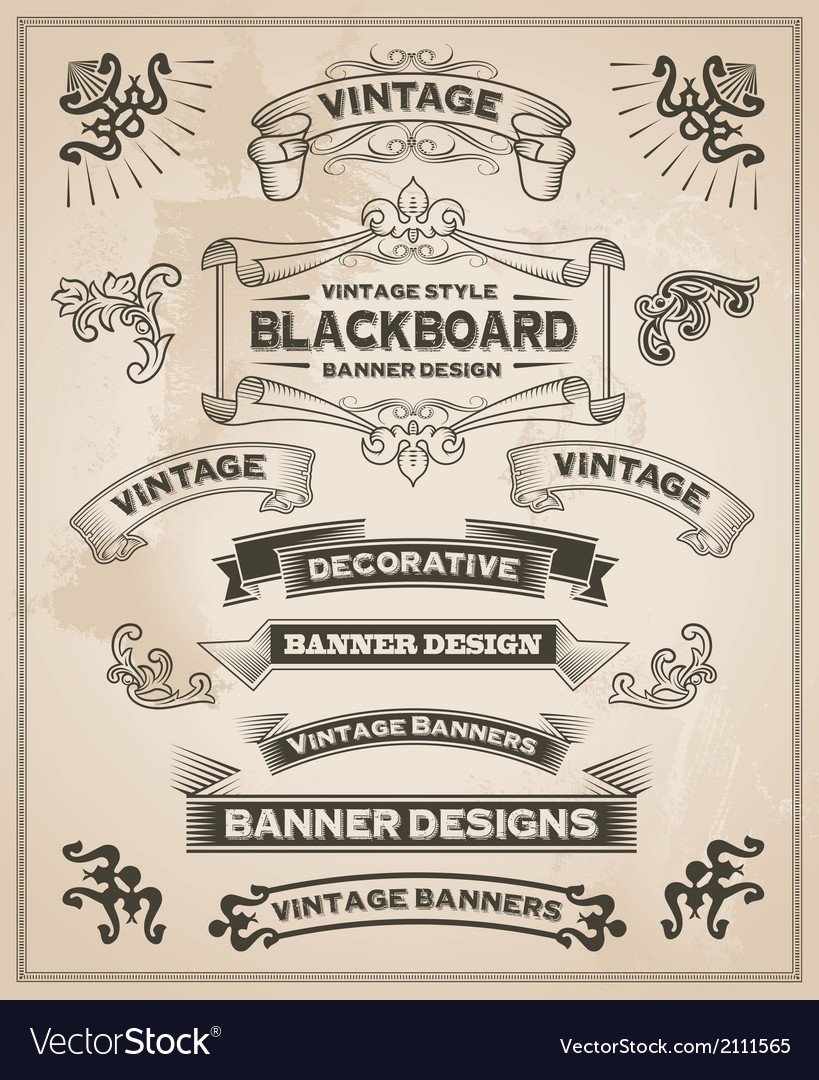 Vintage banner and ribbon set