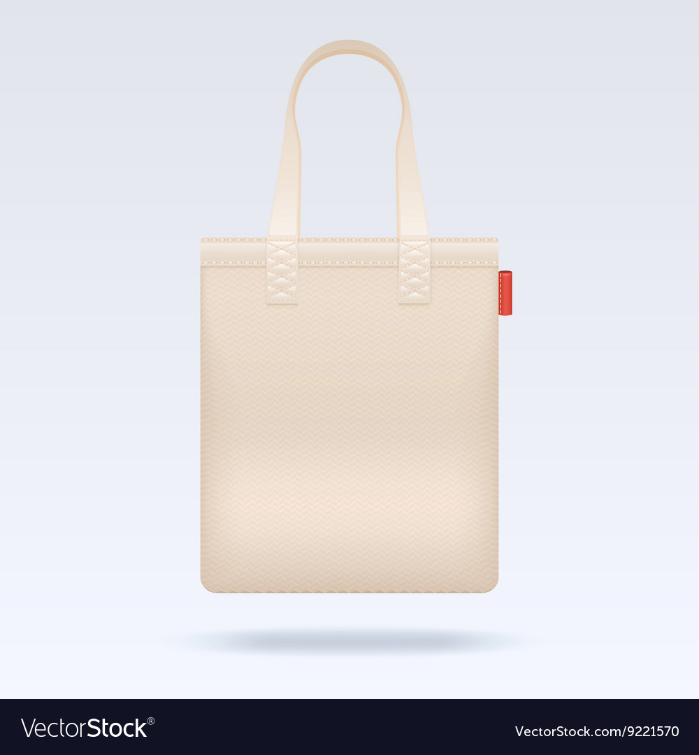 Blank white tote shopping bag template vector image