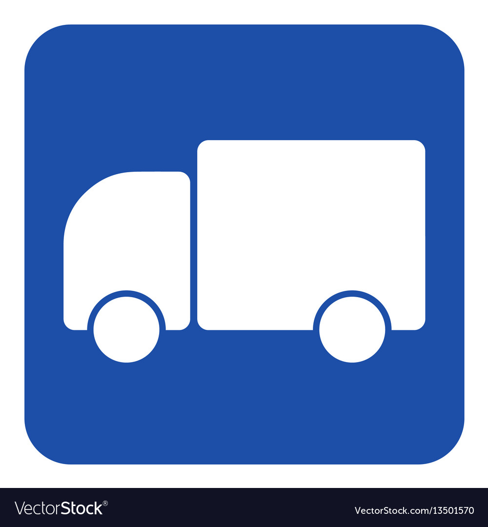 Blue white information sign - lorry car icon