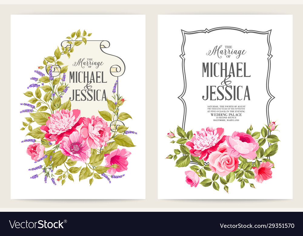 Bridal shower invitation with flowers over white