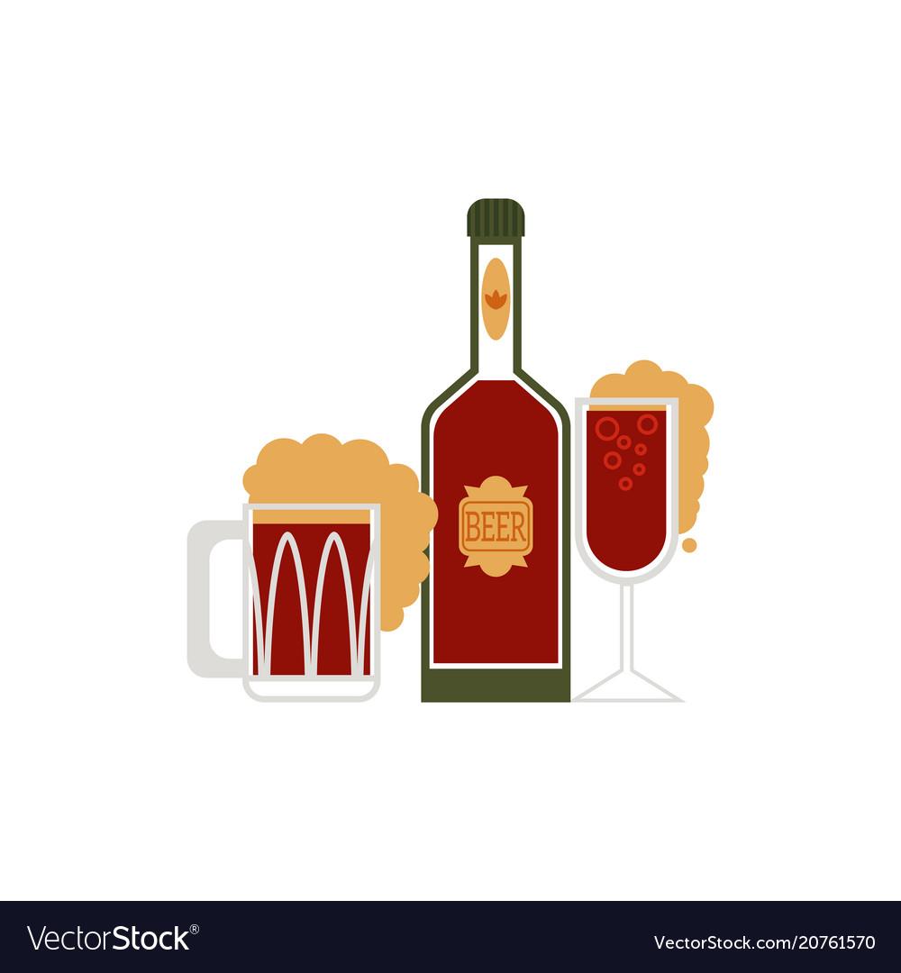 Cartoon beer symbols set