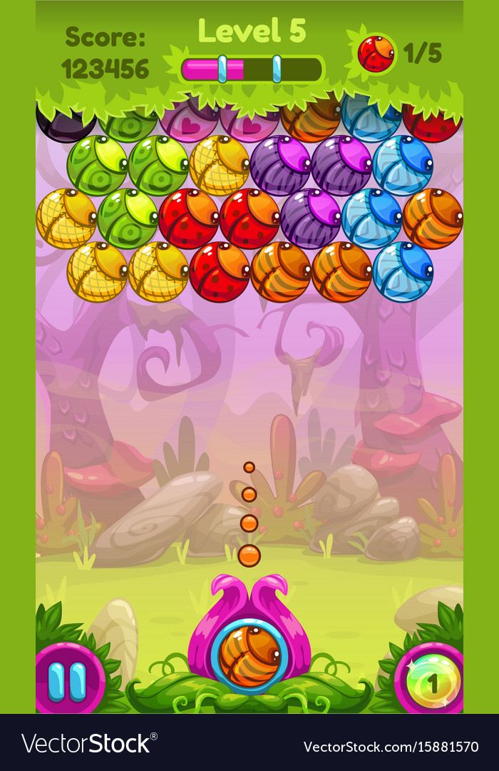 Cute game user interface with colorful bugs