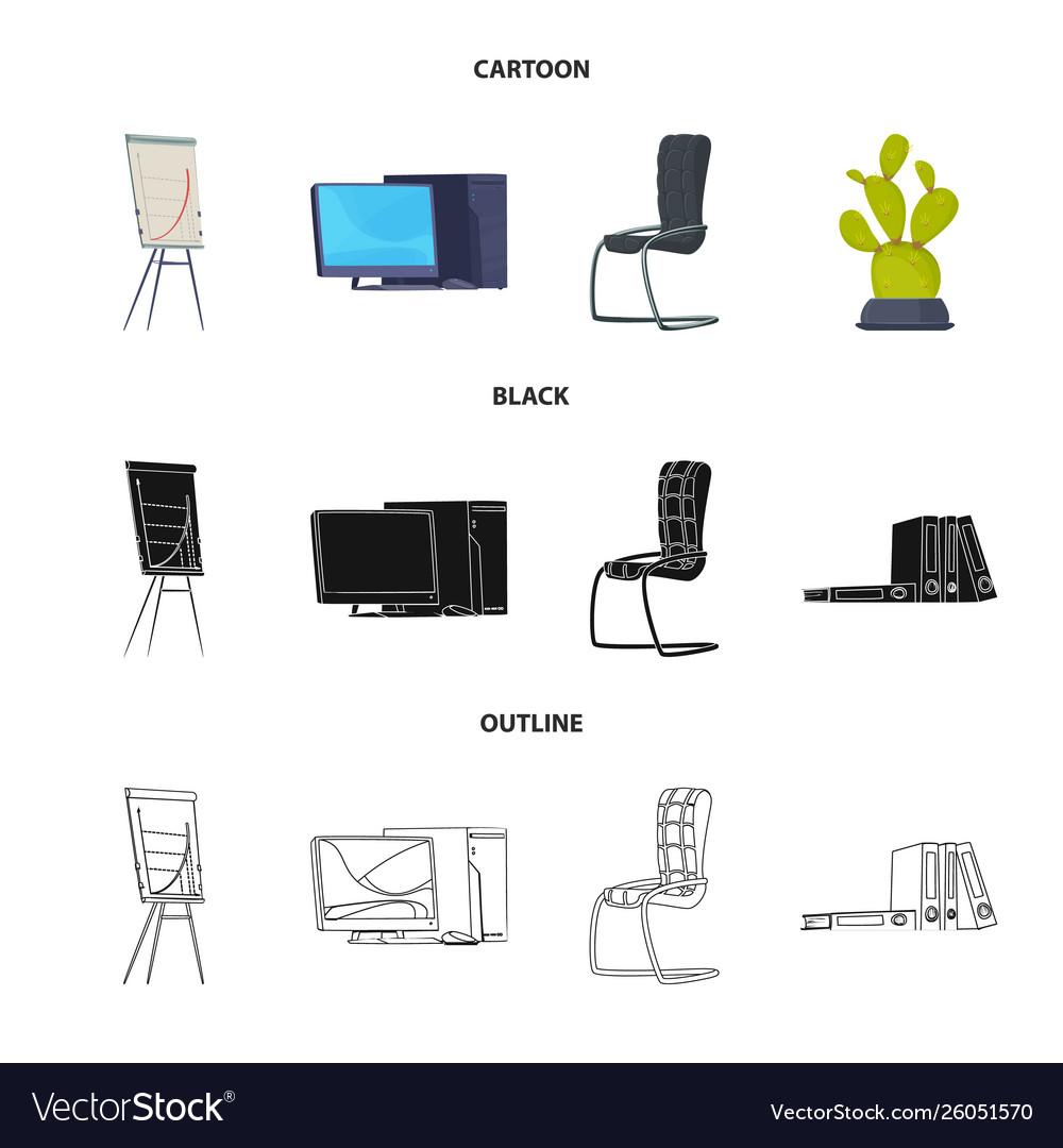 design furniture and work symbol set of