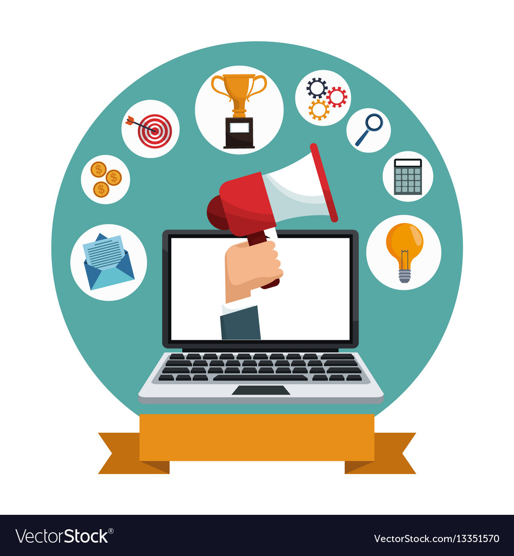 Digital marketing laptop social media icons Vector Image