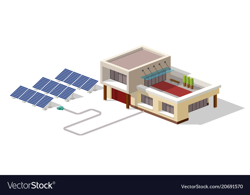 Eco house connected solar panels plant house with vector image