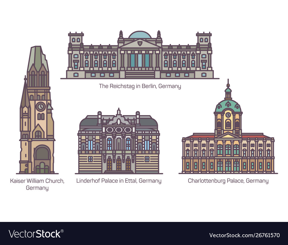 Germany or german architecture landmarks in line