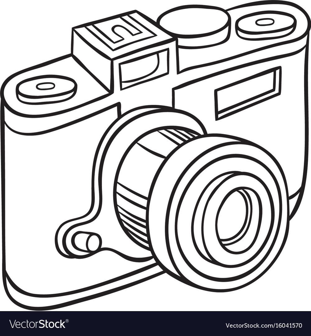 Hand Drawn Camera Royalty Free Vector Image Vectorstock
