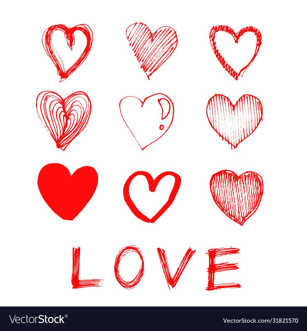 Hand drawn heart love icon on white background